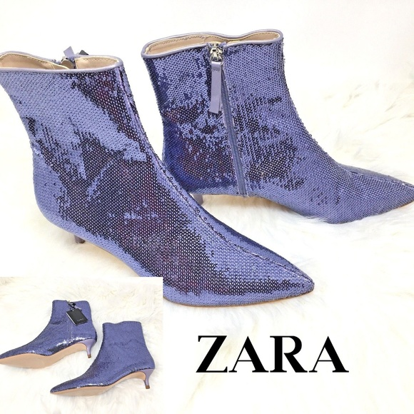 4fade268d4 Zara Shoes | Sequin Kitten Heel Ankle Boots | Poshmark